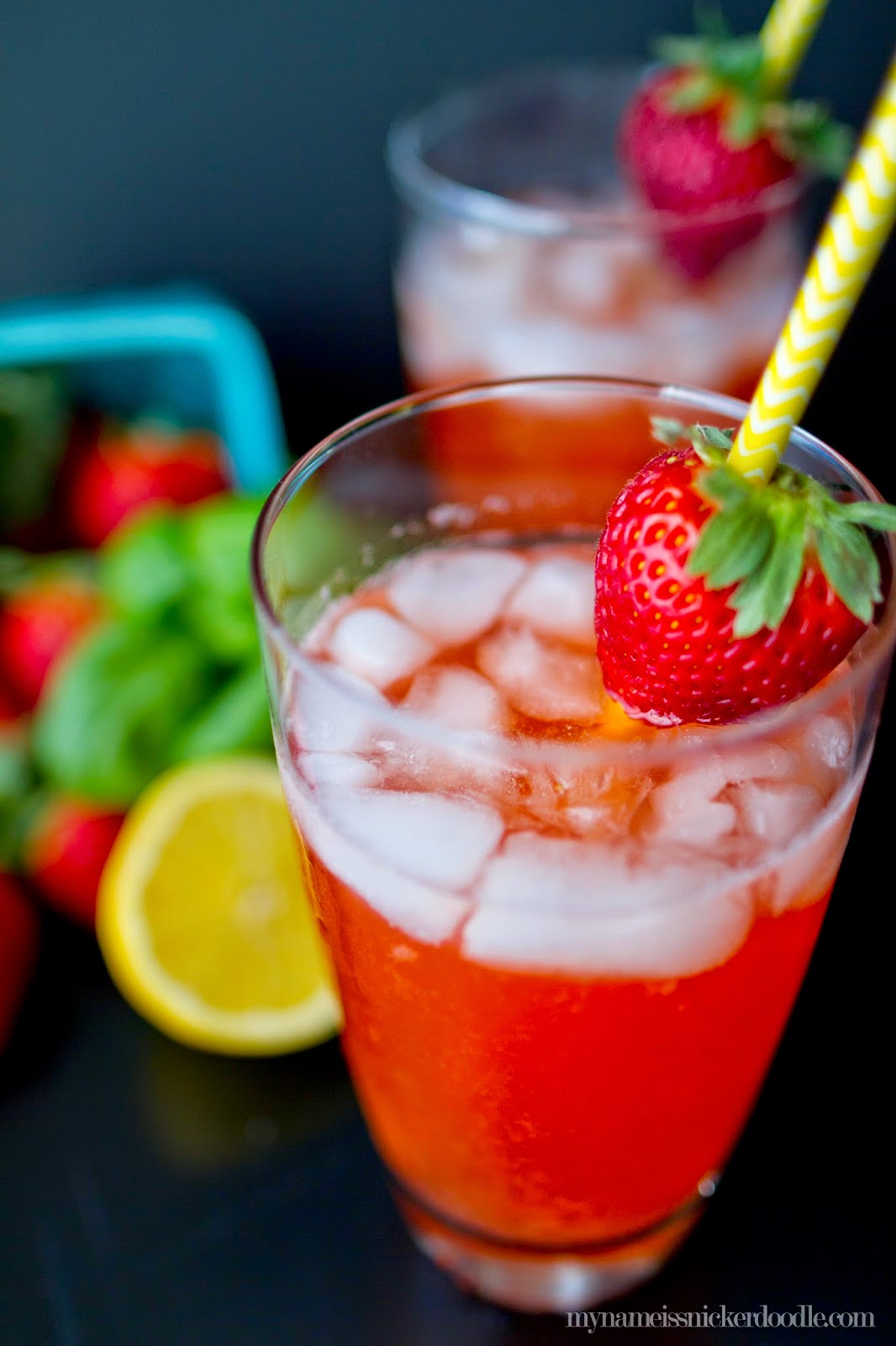 This is the perfect sweet drink for spring and summer.  Strawberry Basil Lemonade recipe is super easy and so quenching!   |  My Name Is Snickerdoodle
