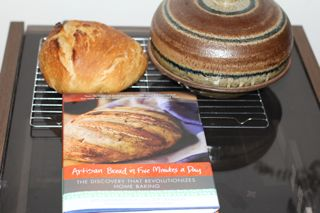 photo of artisan bread and cloche