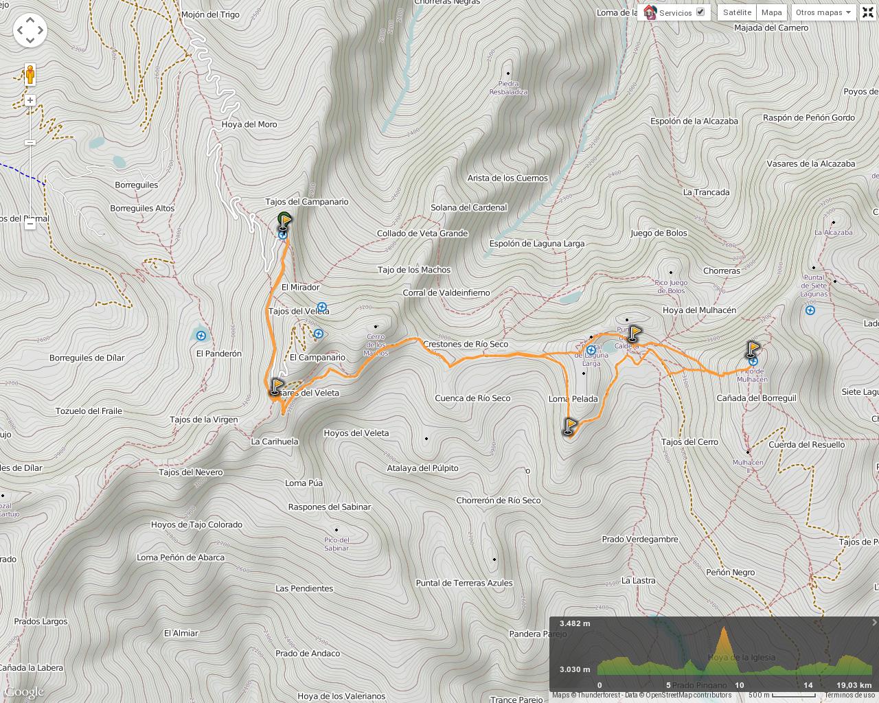 Ruta Posiciones del Veleta - Mulhacén: Mapa de la ruta
