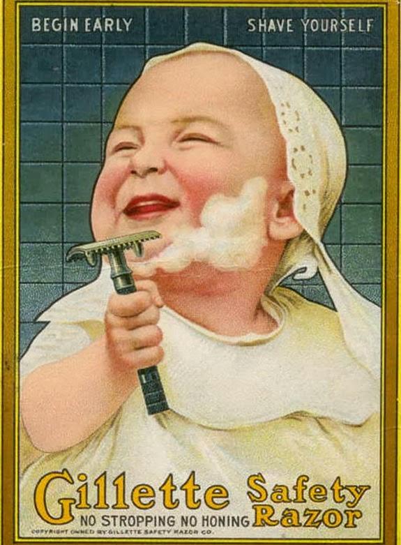 Propaganda do Gillette com um bebê barbeando em 1905