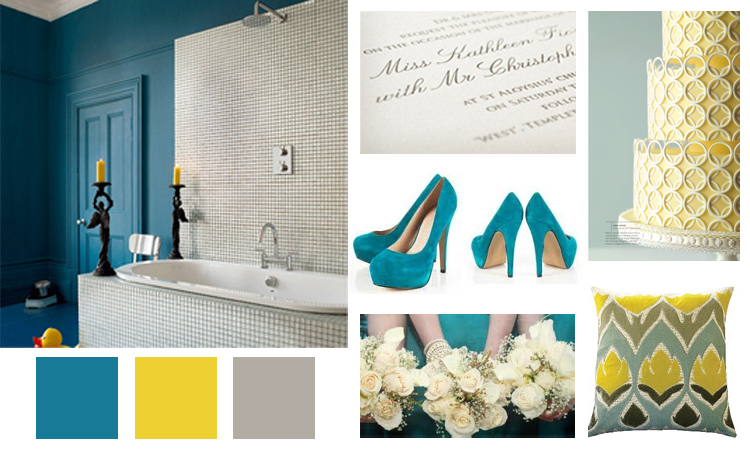 Making for teal and mustard as your key colors and a light browngrey