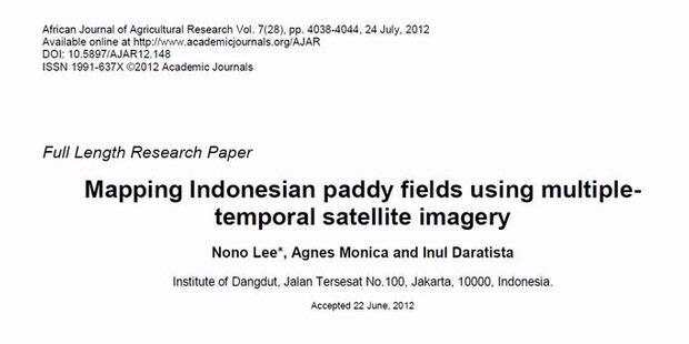 Mapping Indonesian Paddy Field Using Multiple-Temporal Satellite Imagery