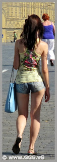 Sexy girl in shorts on the street