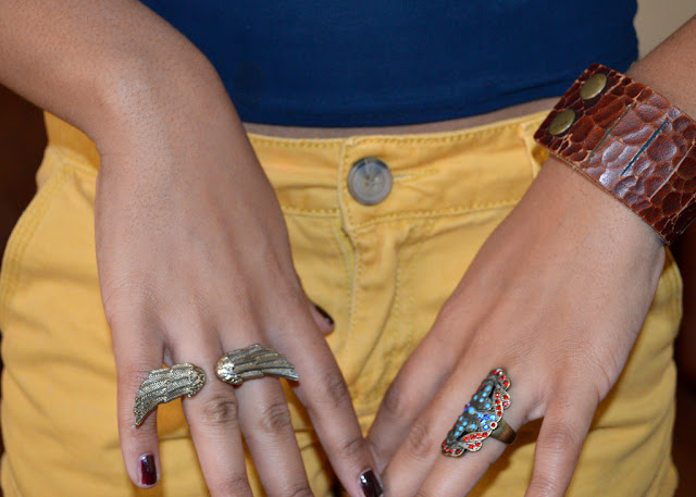 Fashion Blogger Anais Alexandre of Down to Stars in a vintage Lucky Brand leather cuff and Forever 21 winged ring, turquoise ring.