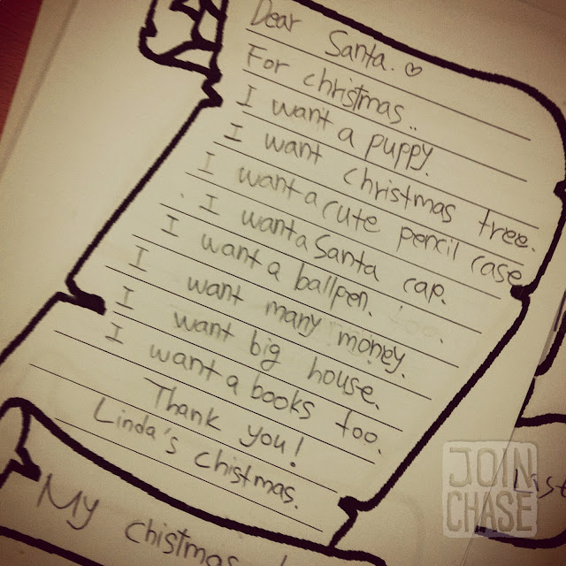 A letter to Santa written by an elementary student in South Korea.