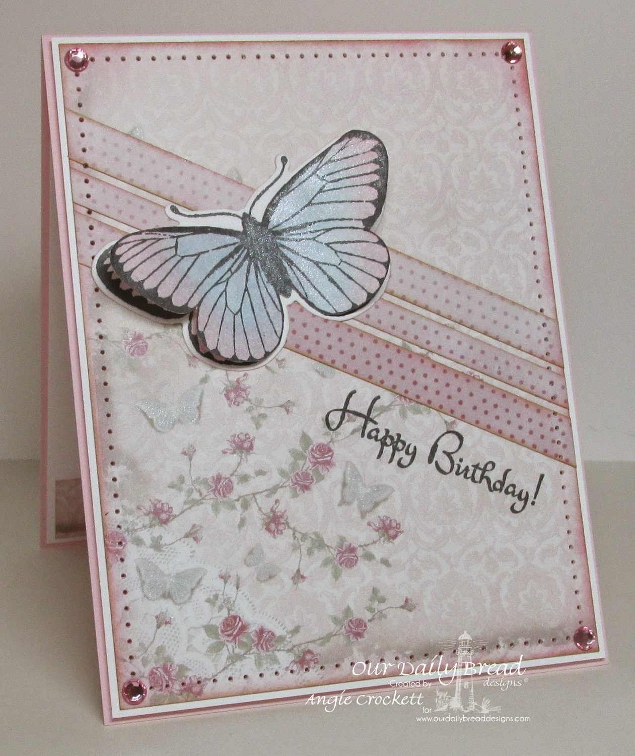 ODBD Shabby Rose Paper Collection, ODBD Butterfly Single and ODBD Custom Butterfly Die, ODBD Life is a Gift, Card Designer Angie Crockett