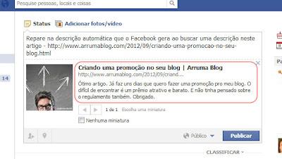 IMAGEM II: Como fica o artigo no Facebook sem a opção descrita
