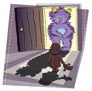 Shy purple monster in the closet