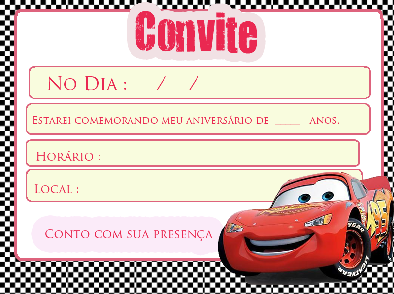 Convite para festa carros disney