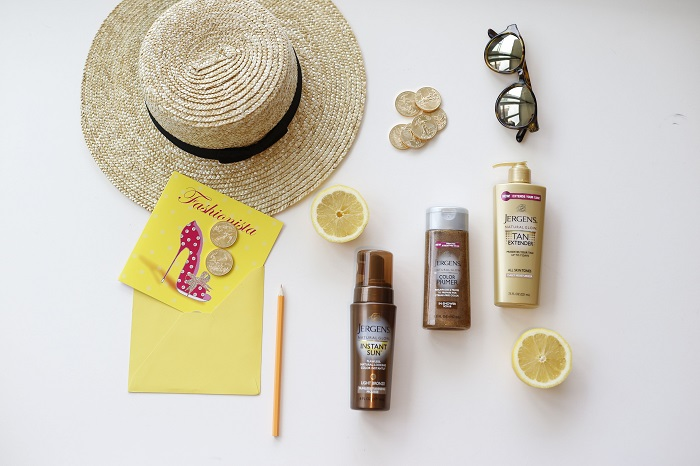 golden glow, tan, summer, fashion blog, jergens instant sun collection, tanning lotion, tanning products, product review