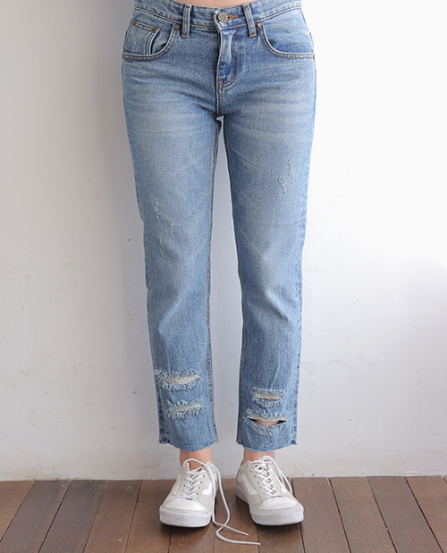 Faded Distressed Jeans