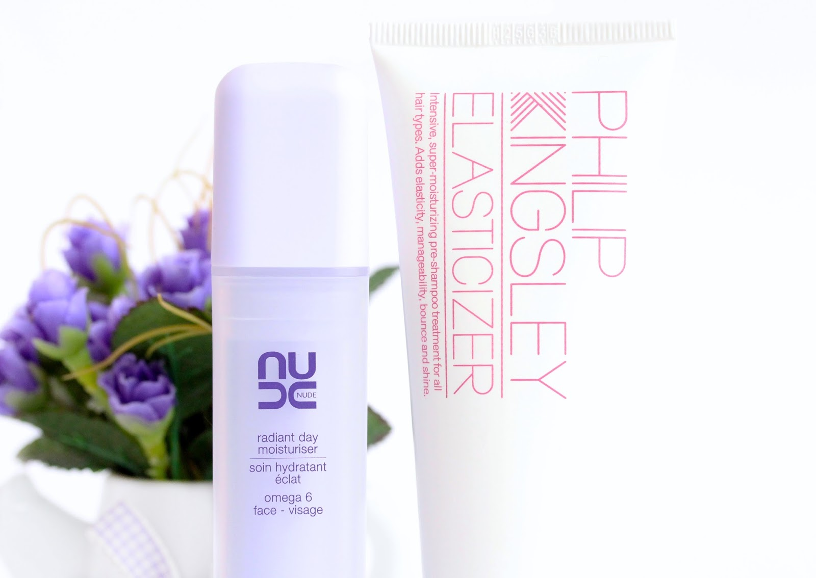 NUDE radiant day moisturizer and Philip Kingsley Elasticizer