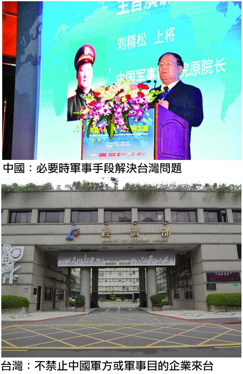 台灣開放解放軍背景企業來台投資或設點