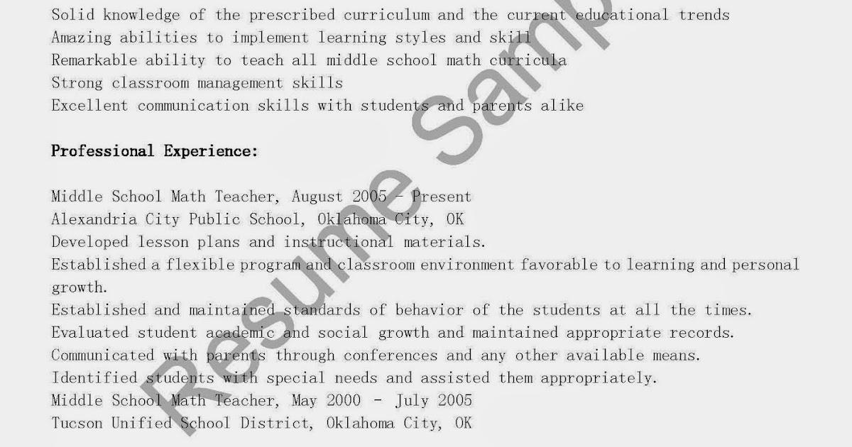 resume samples  middle school math teacher resume sample