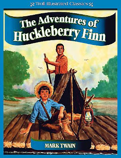"Chapters 1-7: Huck's Escape Mark Twain begins The Adventures of Huckleberry Finn with a notice to the reader. He identifies Huckleberry Finn as ""Tom Sawyer's Comrade"" and reminds the reader that this novel resumes where The Adventures of Tom Sawyer left off: in St. Petersburg, Missouri, on the Mississippi River, ""forty to fifty years"" before the novel was written (so between 1834 and 1844, before the American Civil War). He tells the reader that several different ""dialects are used,"" which have been written ""painstakingly,"" based on his own ""personal The Adventures of Huckleberry Finn: Summary 7familiarity with these several forms of speech."" The novel's title character, Huckleberry Finn, narrates the story. He summarizes the end of The Adventures ofTom Sawyer, in which he and Tom discovered a large amount of stolen gold. He lives now with the WidowDouglas, who has taken him in as ""her son,"" and her sister, Miss Watson. His father, ""Pap,"" has disappeared:Pap hadn't been seen for more than a year, and that was comfortable for me; I didn't want to see him no more. He used to always whale me when he was sober and could get his hands on me; though I used to take to the woods when he was around.The widow attempts to ""sivilize"" Huck and teach him religion. Huck finds her ways confining. Miss Watsonnags him to learn to read, to ""set up straight,"" and to behave. Huck remains superstitious, and he mostly resiststhe women's influence; after bedtime, he escapes out his window to join Tom Sawyer for new adventures. Theboys meet Jim, ""Miss Watson's nigger,"" and they play a trick on him. Jim, like Huck, is superstitious, andwhen he wakes up he thinks that witches played the trick.Tom, Huck, and other boys meet in a cave down the river, and form a Gang, a ""band of robbers."" But Hucktires of the Gang's adventures, because they are only imaginary. When Pap shows up in St. Petersburg, hecauses Huck some real problems. Pap wants Huck's reward money from the end of The Adventures of Tom Sawyer. Signs of his son's increased civilization irritate him: the proper clothing, and the ability to read and write. Huck secures his money by ""selling"" it to Judge Thatcher. Huck's father brings a lawsuit against the judge, but ""law"" is ""a slow business."" Eventually Pap kidnaps Huck, and takes him up the river to a shack on the Illinois side of the river. At first, Huck enjoys the return to freedom, but living with his father has its difficulties; ""by-and-by pap [gets] too handy with his hick'ry,"" and he either leaves Huck locked in the cabin alone, or beats him. Huck decides to escape, and cuts a hole in the cabin. After his father lays in somesupplies, Huck lays his plans. He catches a canoe as it floats down the river. Left alone, Huck stages his own murder: he kills a wild pig and leaves its blood around the shack and on his jacket, then leaves a fake trail showing a body being dragged to the river. He then loads up the supplies and takes off down river. He stops to camp on Jackson's Island, two miles below St. Petersburg.  Chapters 8-18: Down the River On the island, Huck feels liberated. Seeing his friends search for his body troubles him only slightly. After a few days, he discovers that he is not alone on the island: Jim has run away from Miss Watson, who had threatened to sell him down the river. Jim's escape troubles Huck, but together they enjoy a good life: fishing, eating, smoking, and sleeping. They find a house floating down the river, with a dead man in it, from which they take some valuables. Huck appreciates the lore that Jim teaches him, but still likes to play tricks. He leaves a dead rattlesnake on Jim's bed, and Jim gets bitten by the snake's mate. He recovers, but interprets the bite as the result of Huck touching a snake-skin—a sure bringer of bad luck. Jim suspects that there is more to come. One night, Huck dresses as a girl and goes across to town to ""get a stirring-up."" He discovers that there is a reward offered for Jim and that the island is no longer a safe hiding place. He rushes back to the island, and he and Jim float down the Mississippi, sleeping by day and drifting by night. Living this way, they get to know each other, and Jim tells Huck about his children. They also have several adventures. They board a wrecked steamboat and steal some ill-gotten goods from three thieves on board, inadvertently leaving them to drown. Huck and Jim get separated in a fog. They call out, but for hours at a time, they seem lost to each other. Huck falls asleep, and when he awakens, he sees the raft. He sneaks aboard and convinces Jim it was all a dream. When Huck points to evidence of the night's adventure and teases him for being gullible, Jim teaches Huck a lesson: The Adventures of Huckleberry Finn: Summary 8""When I got all wore out wid work, en wid de callin' for you, en went to sleep, my heart wuz mos' broke bekase you waz los', en I didn' k'yer no mo' what become er me en de raf. Enwhen I wake up en fine you back ag'in, all safe en soun', de tears come, en I could 'a' got down on my knees en kiss' yo' foot, I's so thankful. En all you wuz thinkin' 'bout wuz how you could make a fool uv ole Jim wid a lie. Dat truck dah is trash, en trash is what people is dat puts dirt on de head er dey fren's en makes 'em ashamed."" It was fifteen minutes before I could work myself up to go and humble myself to a nigger; but I done it, and I warn't ever sorry for it afterwards, neither I didn't do him no more mean tricks, and I wouldn't done that one if I'd 'a' knowed it would make him feel that way.   Chapters 19-33: The King and Duke Huck and Jim plan to drift down to Cairo, Illinois, and then steamboat North, but they realize that they passed Cairo in the fog. A steamboat crashes into their raft and separates them again. Huck swims ashore and is taken in by the Grangerford family, who are embroiled in a feud with another local family, the Shepherdsons. He lives with the Grangerfords, while Jim hides in a nearby swamp and repairs the raft. When the feud erupts into new violence, and Huck's new friend, Buck Grangerford, is killed, Huck and Jim set off once again down the river. From the film The Adventures of Huckleberry Finn, starring Mickey Rooney, MGM, 1939. Huck and Jim rescue two ""rapscallions,"" who identify themselves as a duke and a king. They take the prime sleeping quarters on the raft and expect Jim and Huck to wait on them. They employ different schemes to make money along the river. They attend a religious camp-meeting, and the king takes up a collection for himself. In ""Arkansaw,"" they rent a theater and put on a Shakespearean farce called ""The Royal Nonesuch."" Next, a boy they meet confides that an inheritance awaits one Mr. Wilks, an English gentleman, in his town. Seeing their opportunity, the king and duke assume the identity of Mr. Wilks and his servant, and go to claim the money. Huck feels increasingly uneasy about their unscrupulous behavior, and vows to protect their The Adventures of Huckleberry Finn: Summary 9victims. He hides the cash they try to steal. When the real Mr. Wilks arrives, Huck and Jim try—but fail—to escape without the rascally ""king"" and ""duke."" Next, the king and duke betray Jim as a runaway slave, and ""sell"" their ""rights"" to him to a farmer, Silas Phelps. Huck realizes what has happened and determines to rescue Jim. He seeks the Phelps farm. By a stroke of luck, they are relatives of Tom Sawyer's, and mistakenly identify Huck as Tom, come to pay a visit. When Tom arrives a few hours later, he falls in with Huck's deception, pretending to be his brother Sid.  Chapters 34-43: Jim's Rescue Tom agrees to help Huck rescue Jim. He insists that the escape follow models from all of his favorite prison stories: he smuggles in items past the unwitting Phelpses. He makes Jim sleep with spiders and rats, and write a prison journal on a shirt. He also warns the Phelpses anonymously. In the escape, Tom gets shot in the leg. Jim and Huck each return and are caught in the act of seeking help for Tom. Finally Tom reveals that Jim is in fact no longer a slave: Miss Watson died and set him free in her will. Tom's Aunt Polly arrives and clears up the case of mistaken identity. Huck, upset by the trick played on him and Jim, accepts Tom's explanation that he wanted ""the adventure"" of the escape. Tom gives Jim forty dollars for his trouble. Now that everyone knows he is still alive, Huck worries about Pap, but Jim tells him not to bother: Pap was the dead man in the house floating down the river. Huck ends the novel with a plan to ""light out for the Territory ahead of the rest"" before the women try again to ""sivilize"" him."