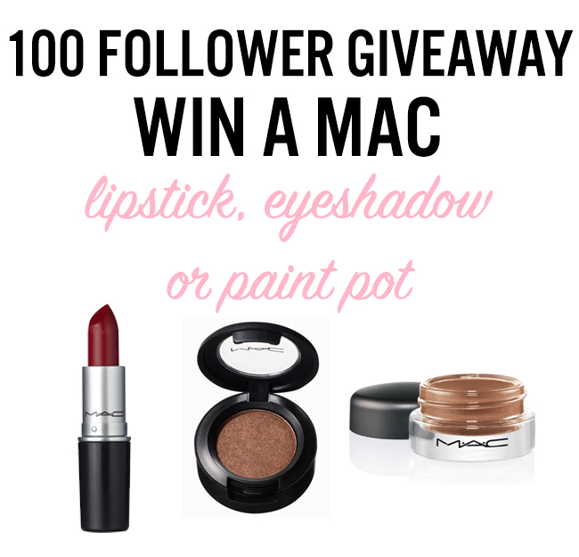 mac giveaway, win mac lipstick, mac eyeshadow, 100 follower giveaway,