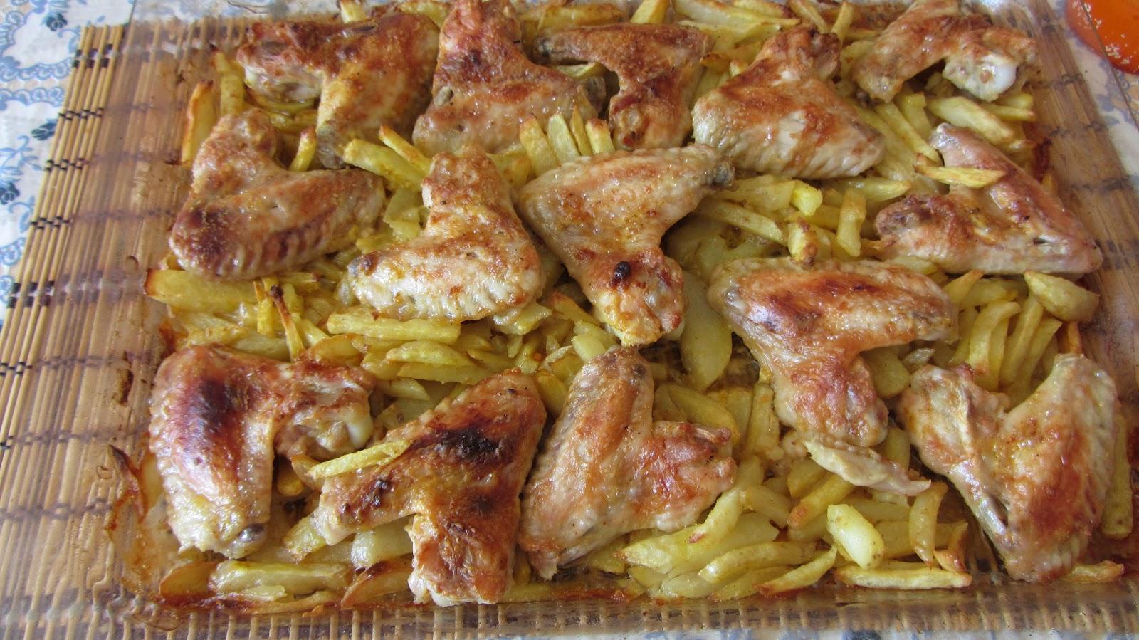 рецепт картошки с крылышками в духовке