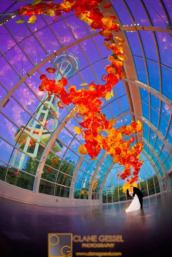 Wedding at Chihuly Garden and Glass, wedding at the Space Needle