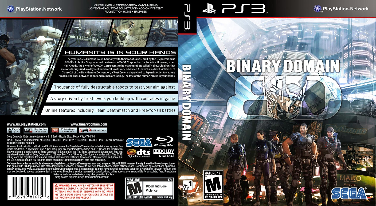 Capa Binary Domain PS3