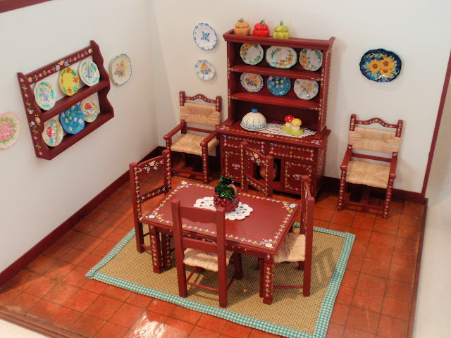 Dollhouse Miniature Typical Portuguese Hand-painted Furniture - Dinning Room by Miniatures Forever