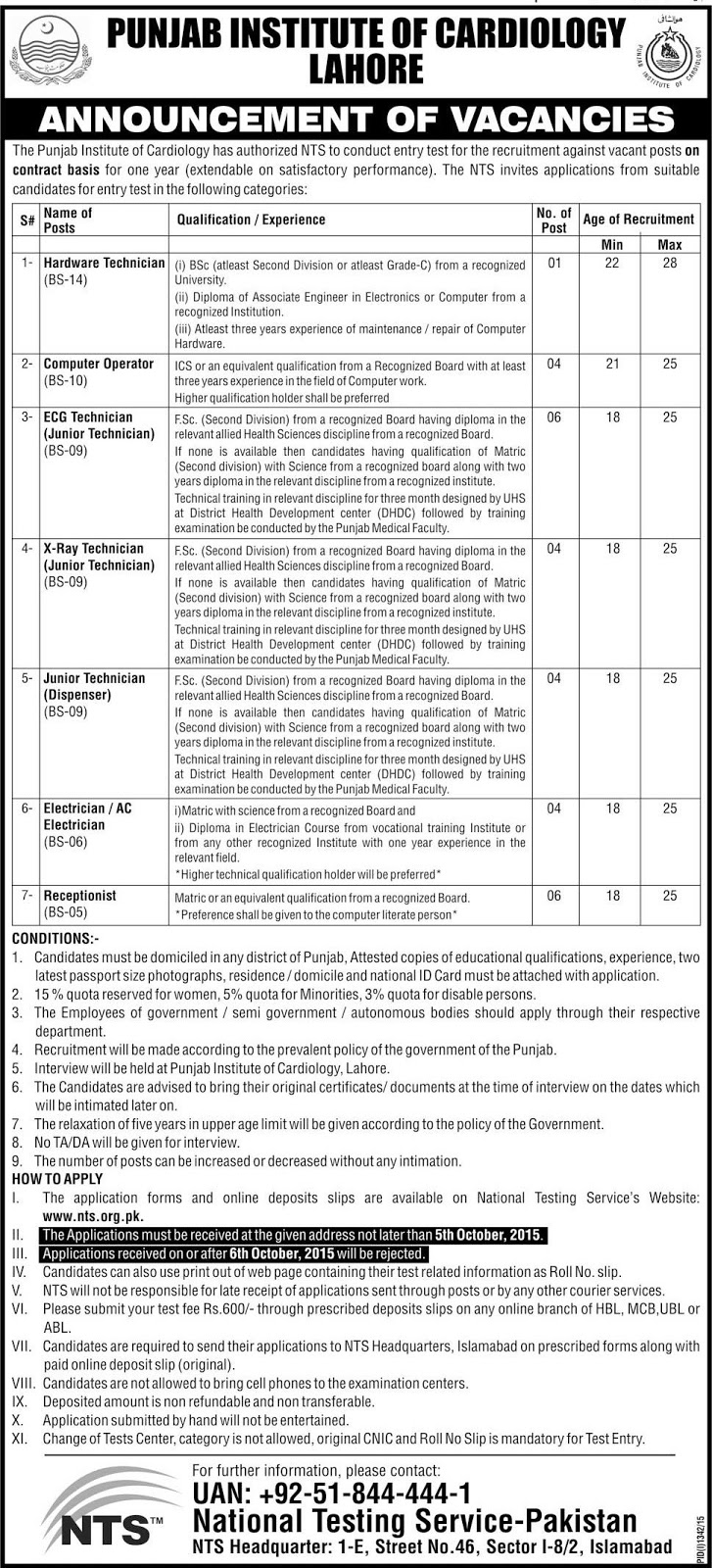 Technical Jobs in Punjab Institute of Cardiology Lahore