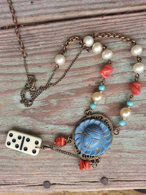assemblage necklace from upcycled materials
