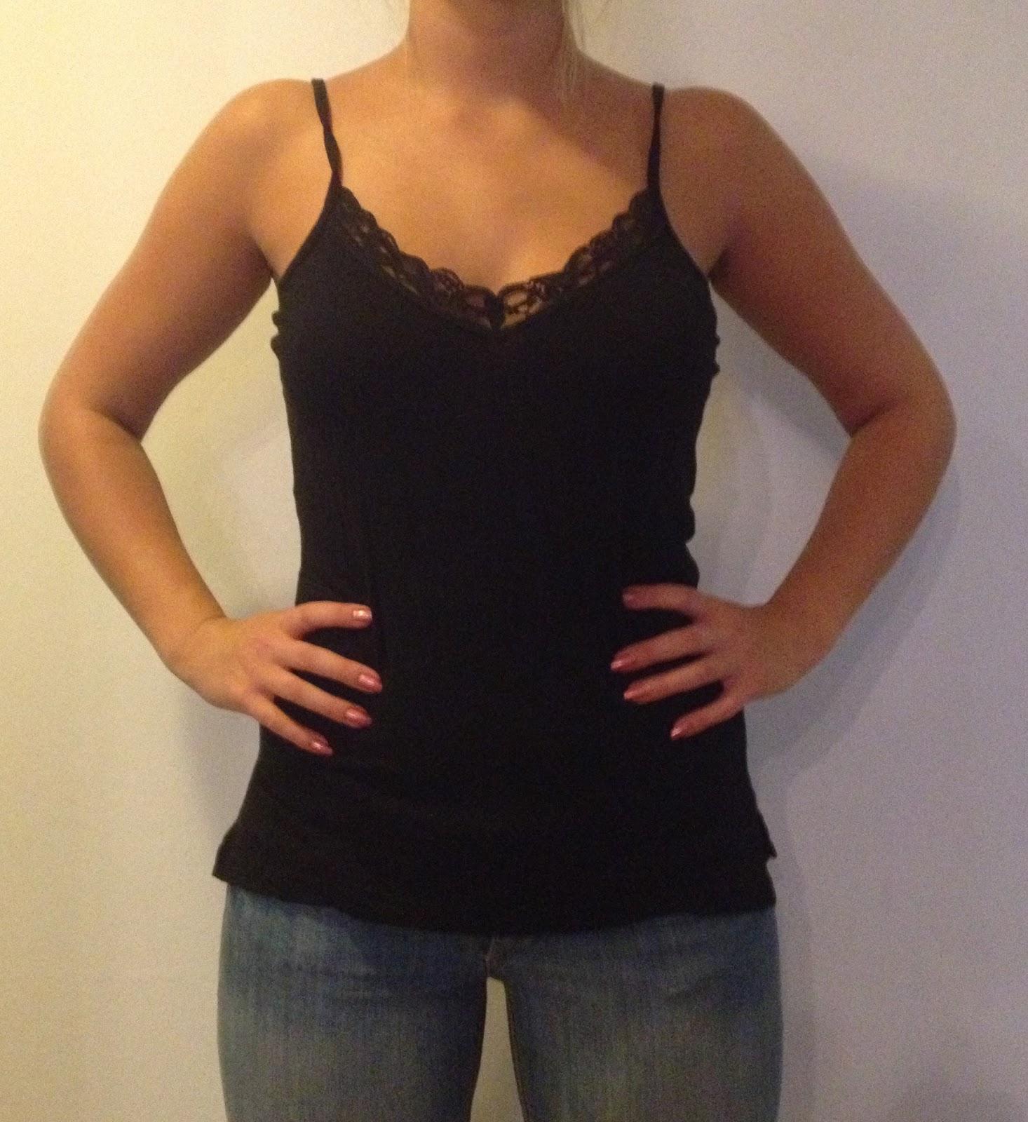 svart linne med spets