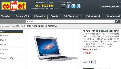 Prezzo sottocosto 799 euro Apple Macbook Air 11