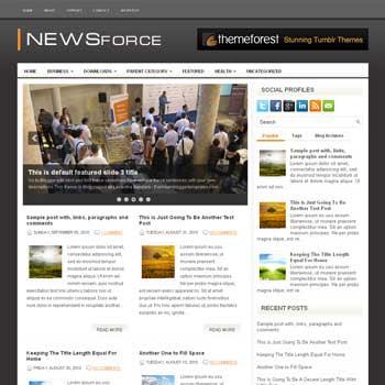 NewsForce blog template. download 3 column blogger template style. magazine template blogspot