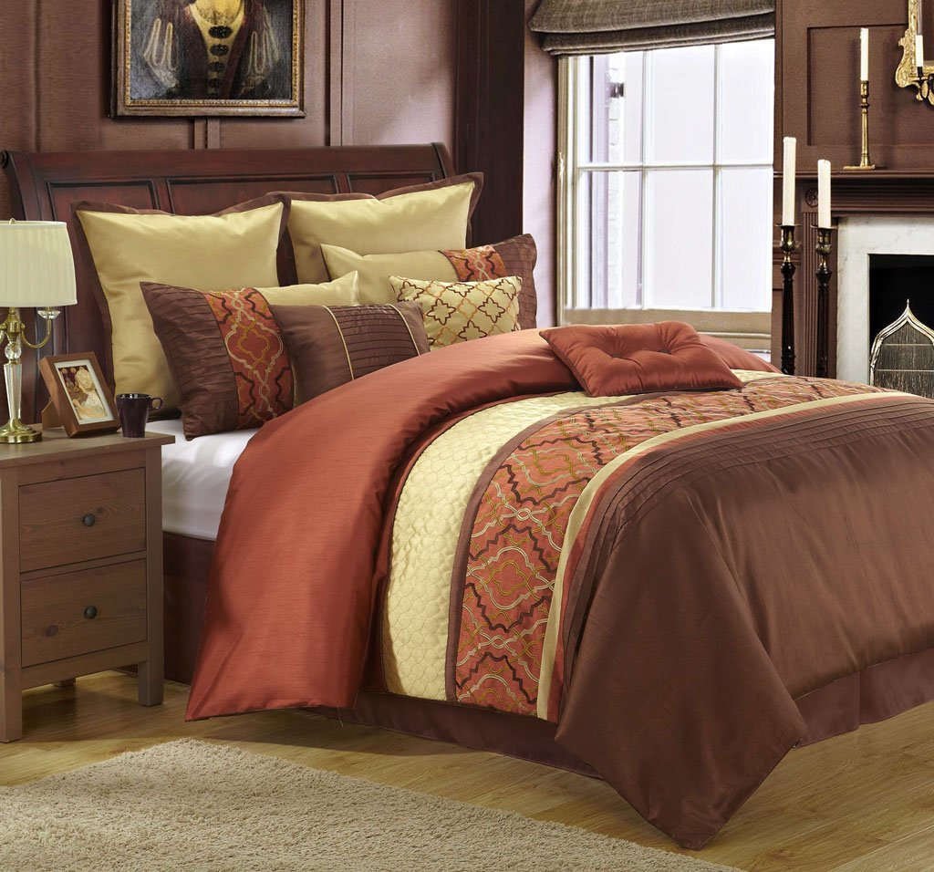 Bright to burnt orange and brown comforter bedding sets