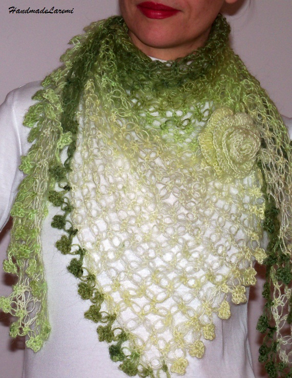 Crochet Patterns Shawl : green+crochet+shawl,+crochet+scarf,+triangular+shawl,+lace+green+shawl ...