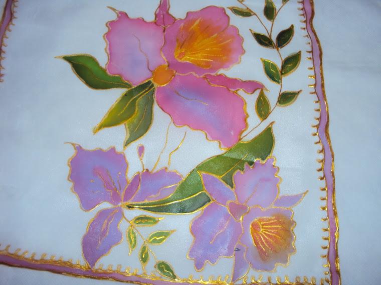Pintura em Voil - Orquídeas