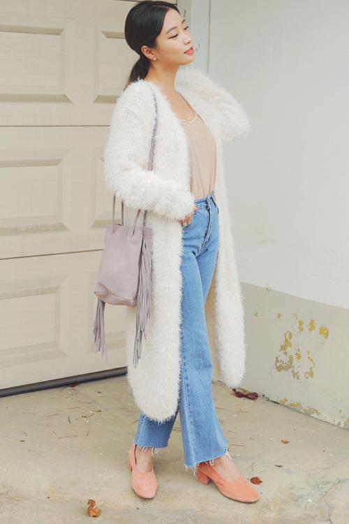 Cardigan Bulu Panjang gaya Korea Tanah abang