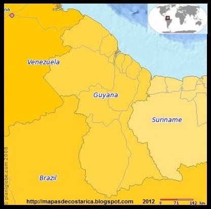 Mapa de GUYANA, (PLANIGLOBE)