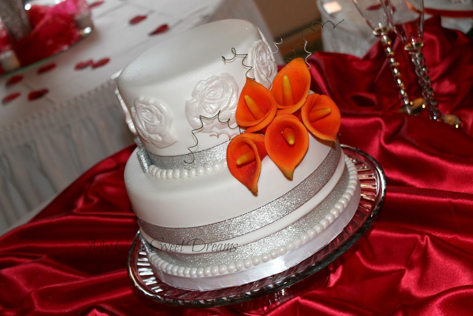"""My Cake Sweet Dreams"" Pretty in orange wedding cake and"
