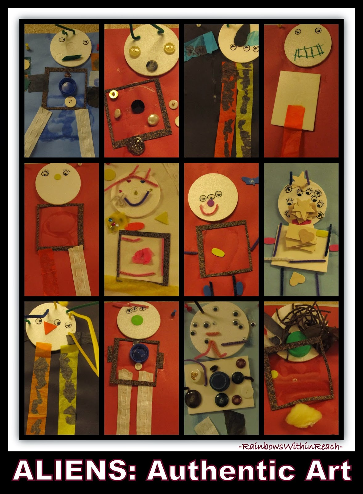 "AUTHENTIC Art: ""Aliens"" Collage and Multi-Media Construction by Preschoolers at RainbowsWithinReach"