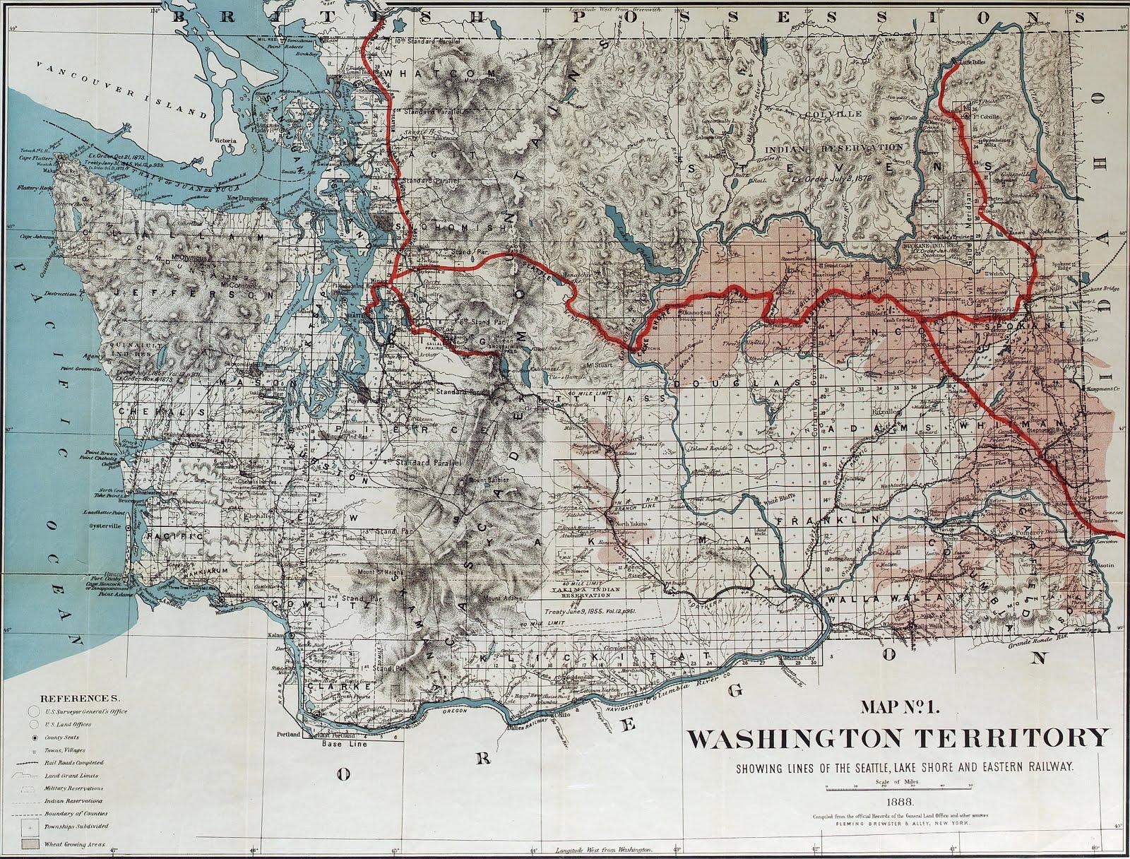 Big Bend Railroad History 1888 Seattle Lake Shore Eastern