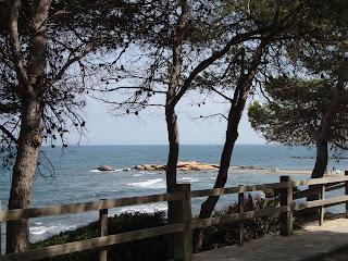 Tarragona beach behind trees