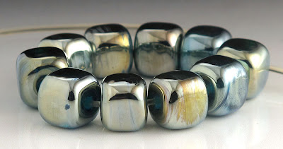 Elektra lampwork glass cube beads by beadabundant