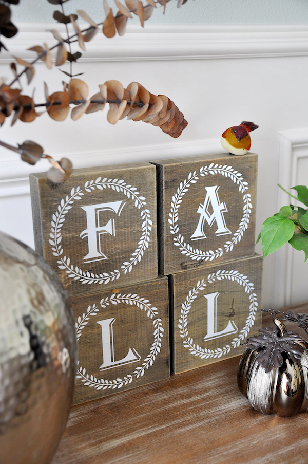Fall decor and block letters from Hobby Lobby - too cute! | Honey We're Home