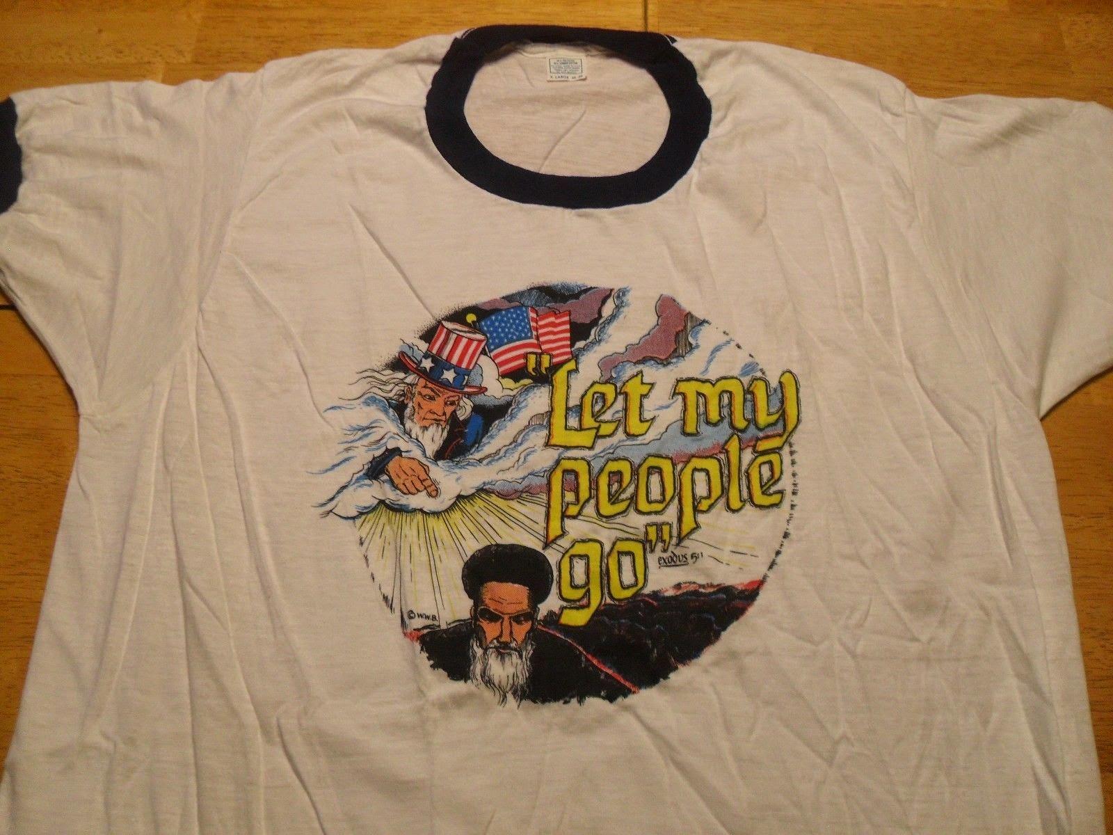 VTG '79 Iran Hostage Crisis Ayatollah Khomeini Ringer T-Shirt Adult M 50/50
