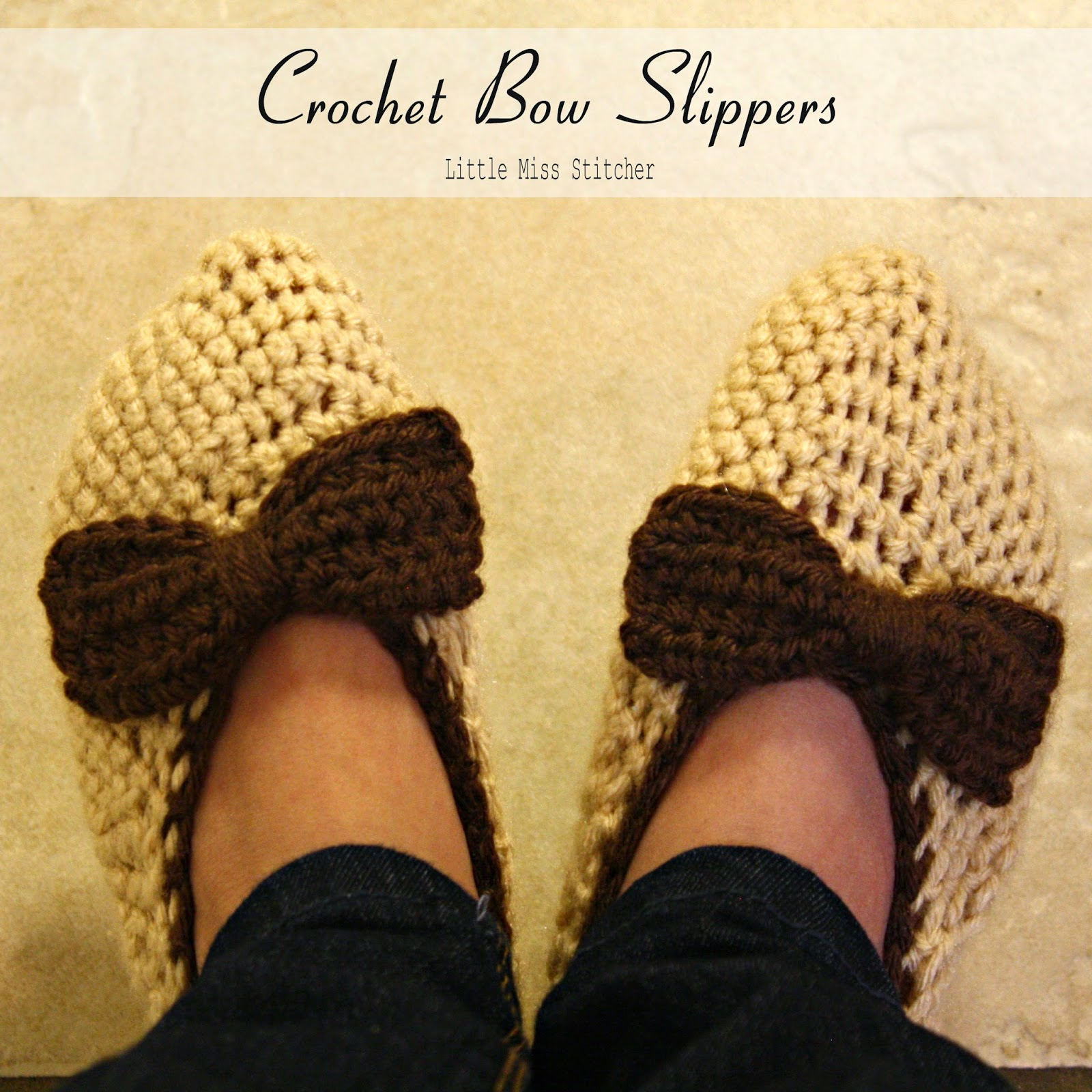 http://little-miss-stitcher.blogspot.com/2014/01/crochet-bow-slippers.html