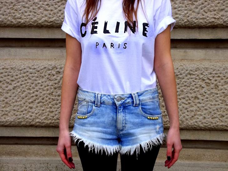 Zara Studded Jacket Celine Paris Tee Studded Fringed Shorts Zara Studded Ankle Boots Lace Open Toe Chanel Pearl Earrings Neon Pink Lipstick Mac Viva Glam Niki Lipstick Pupa Black Nailpolish