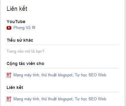 Cộng tác viên trang Web trên Google Plus