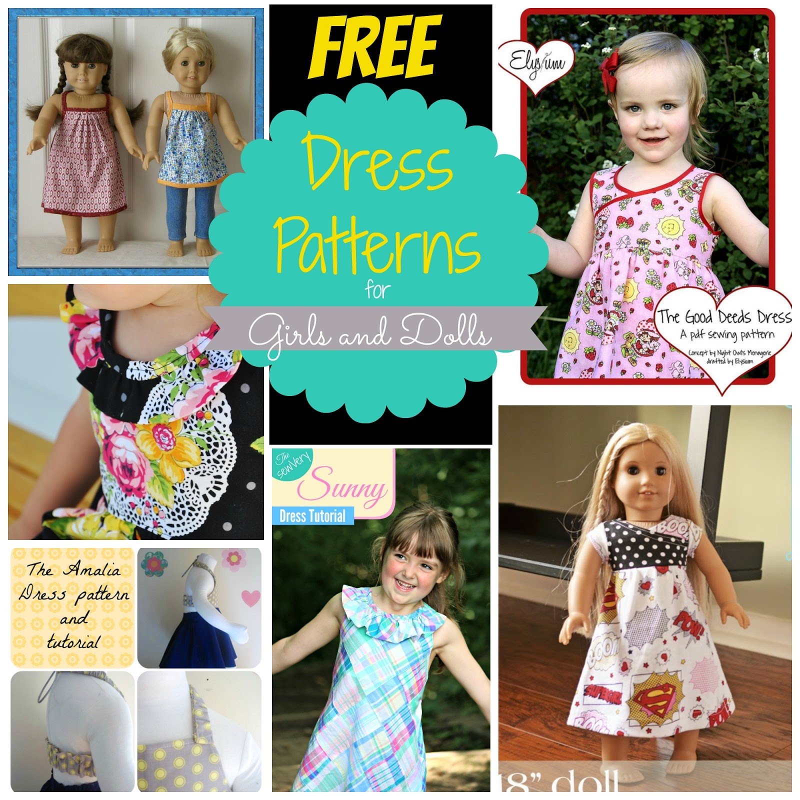 FREE Dress Patterns found on Craftsy for Girls and Dolls