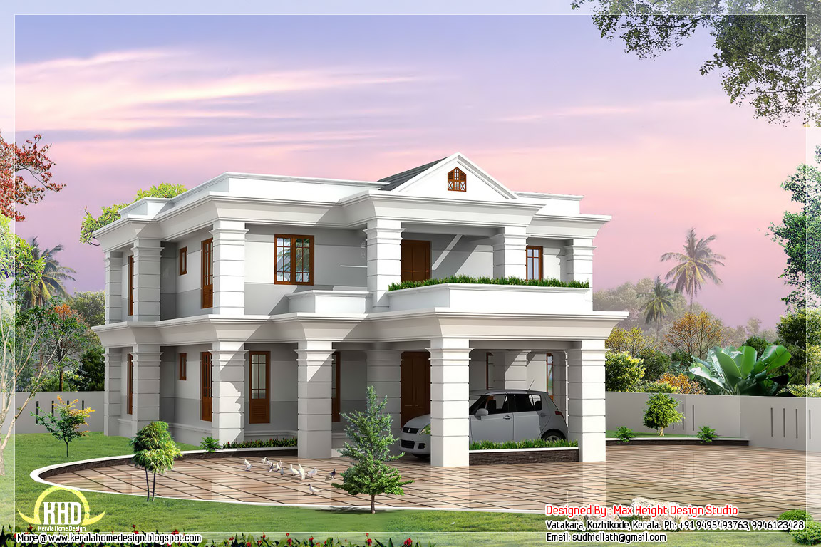 2 beautiful and different villa elevations indian house for Classic house elevation