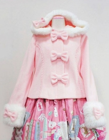 Sweet Pink Bow Lolita Hooded Jacket
