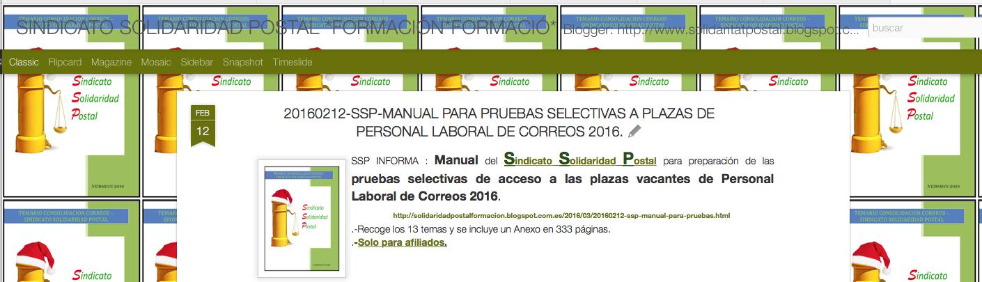 30/12/2015-Pruebas selectivas de acceso a las plazas vacantes de Personal Laboral de Correos 2016.