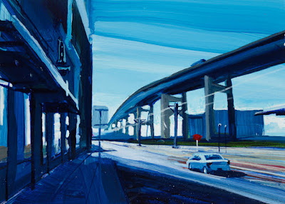 A painting of the skyway located in buffalo ny.