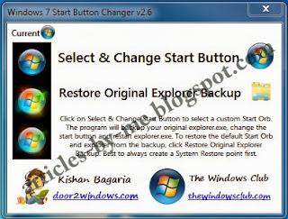 Download Windows 7 Start Button Changer v 2.6